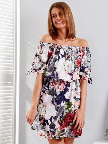 Granatowa sukienka hiszpanka w kwiatowe desenie