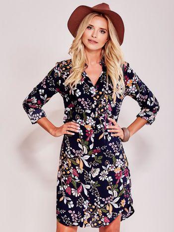 Granatowa sukienka koszulowa w kwiaty