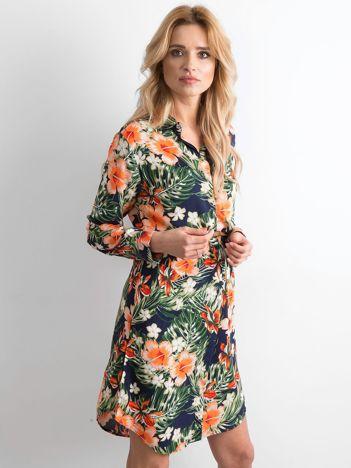 Granatowa sukienka szmizjerka w kwiaty