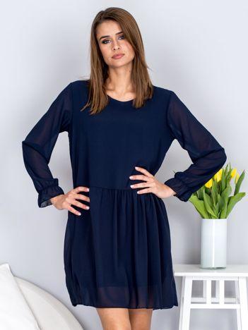 Granatowa sukienka szyfonowa oversize z długim rękawem