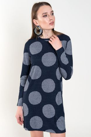 Granatowa sukienka w grochy BSL