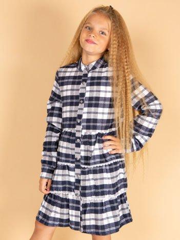 7af2f03741 Granatowa sukienka w kratę dla dziewczynki z warstwowymi falbanami