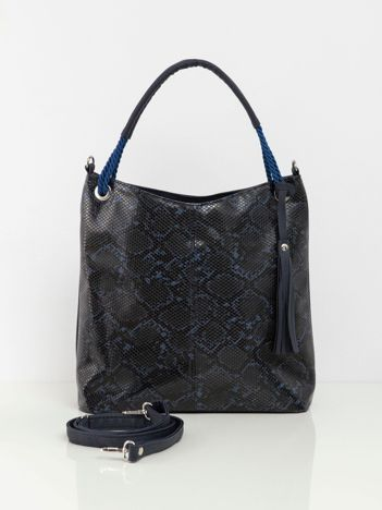Granatowa torba city bag z motywem zwierzęcym