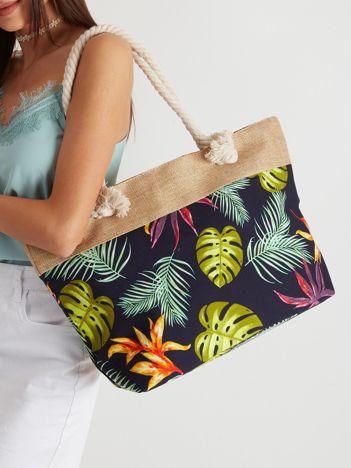 Granatowa torba plażowa w liście