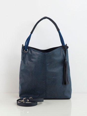 Granatowa torba z motywem zwierzęcym