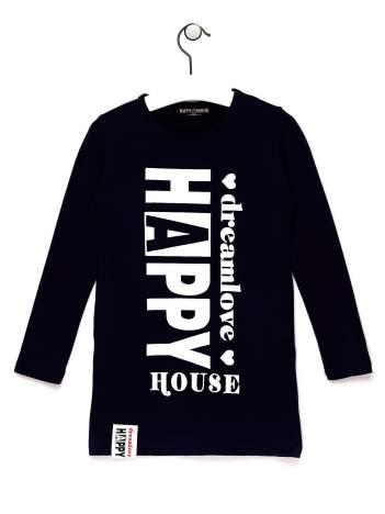 Granatowa tunika dla dziewczynki z napisem HAPPY