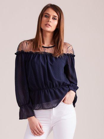 Granatowa wizytowa bluzka w groszki