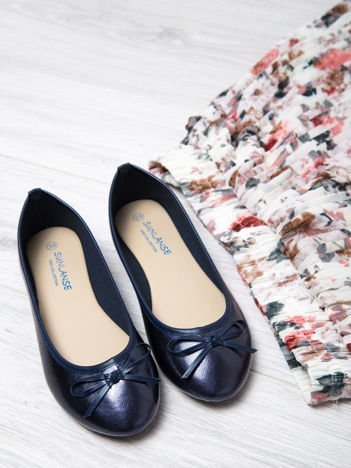 Granatowe baleriny faux leather classic z kokardką