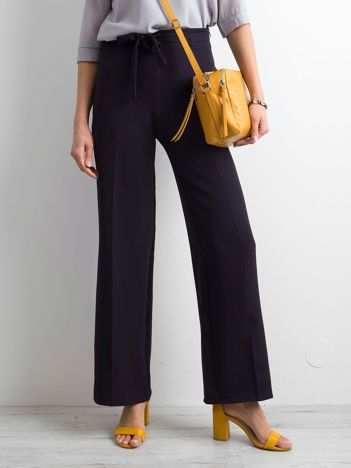 Granatowe damskie szerokie spodnie