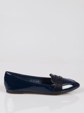 Granatowe lakierowane mokasyny penny loafers Harper