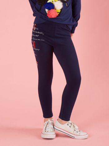 Granatowe legginsy dla dziewczynki z aplikacją
