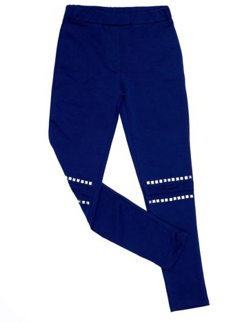 Granatowe legginsy dla dziewczynki z aplikacją na kolanach