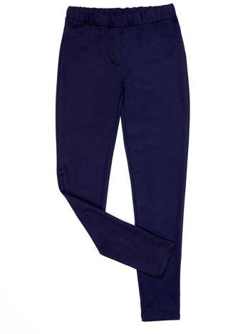 Granatowe legginsy dla dziewczynki z imitacją kieszeni