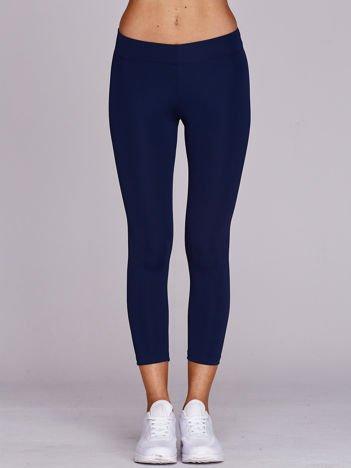 Granatowe legginsy sportowe 3/4 o średniej grubości