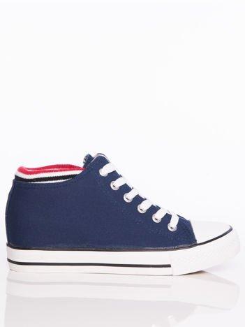 Granatowe płócienne sneakersy z dzianinowym brzegiem cholewki