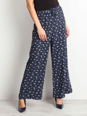 Granatowe spodnie Butterflies