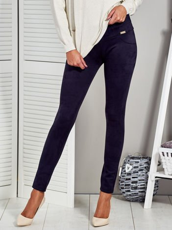 Granatowe zamszowe spodnie