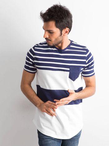 Granatowo-biały t-shirt męski w paski