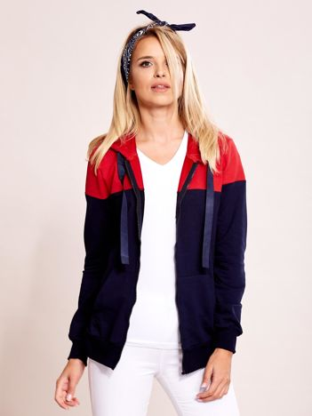Granatowo-czerwona dwukolorowa bluza rozpinana z kapturem