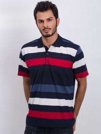 Granatowo-czerwona męska koszulka polo Easier