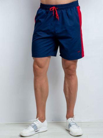 Granatowo-czerwone szorty męskie plus size Movement
