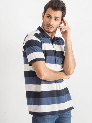 Granatowo-ecru koszulka męska polo Thought