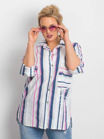Granatowo-różowa koszula plus size Fortune