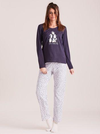 Granatowo-szara dwuczęściowa piżama