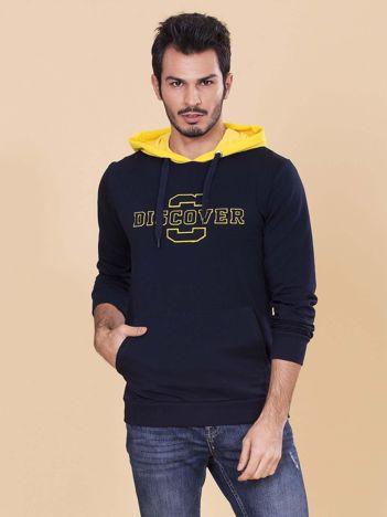 Granatowo-żółta bluza dla mężczyzny z kapturem i troczkami