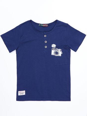 Granatowy bawełniany t-shirt dziecięcy z nadrukiem aparatu