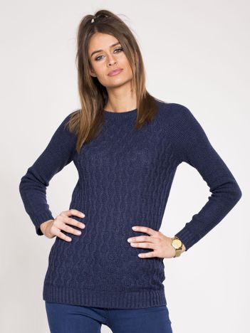 Granatowy damski sweter