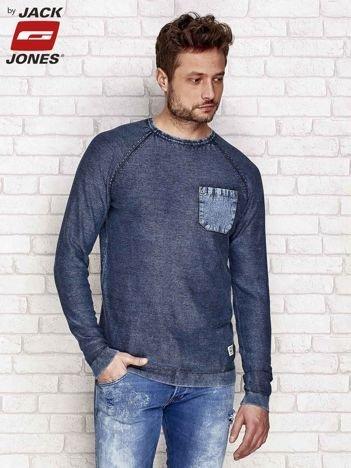 Granatowy dekatyzowany sweter męski