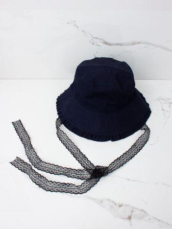 Granatowy kapelusz przeciwsłoneczny dziewczęcy