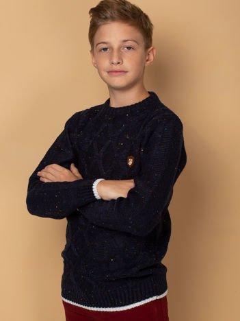 Granatowy melanżowy sweter dla chłopca