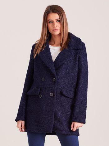Granatowy płaszcz dwurzędowy