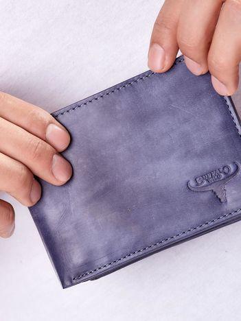 Granatowy portfel męski ze skóry naturalnej