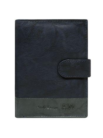 Granatowy portfel z zapięciem na napę