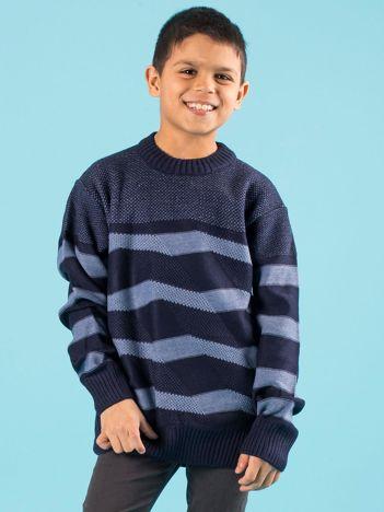 Granatowy sweter chłopięcy w paski