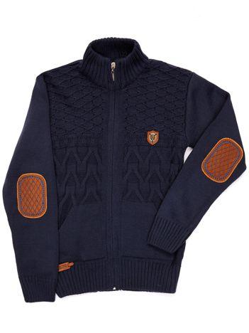 Granatowy sweter dla chłopca ze stójką