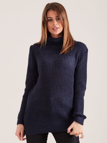Granatowy sweter golf