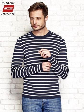 Granatowy sweter męski wzór pasków