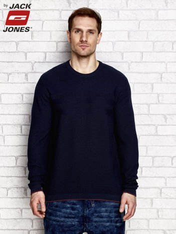 Granatowy sweter męski z motywem pasków
