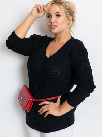 Granatowy sweter plus size Latte