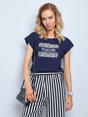 Granatowy t-shirt Fasten