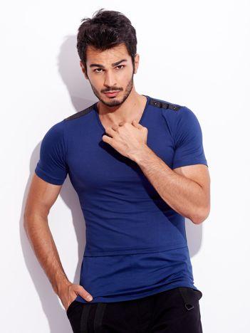 Granatowy t-shirt bawełniany dla mężczyzny