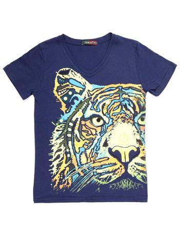 Granatowy t-shirt chłopięcy z tygrysem