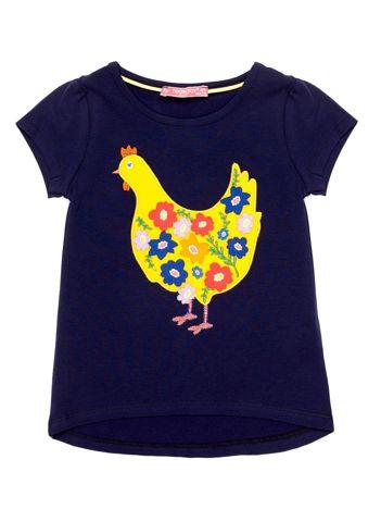 Granatowy t-shirt dziewczęcy z naszywką kury