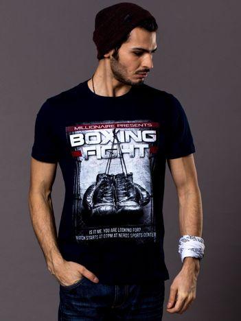 Granatowy t-shirt męski z bokserskim nadrukiem