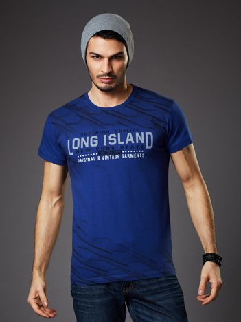 Granatowy t-shirt męski z graficznym nadrukiem