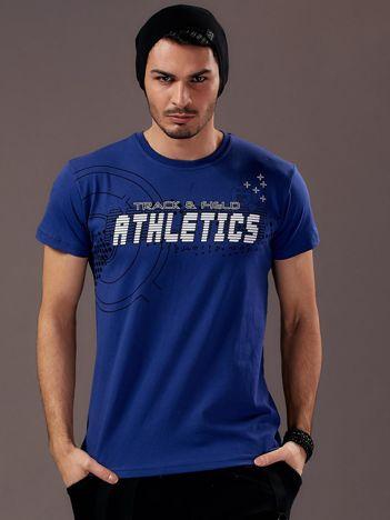 Granatowy t-shirt męski z motywem urban print